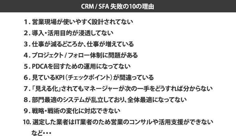 CRM/SFA 失敗の10の理由